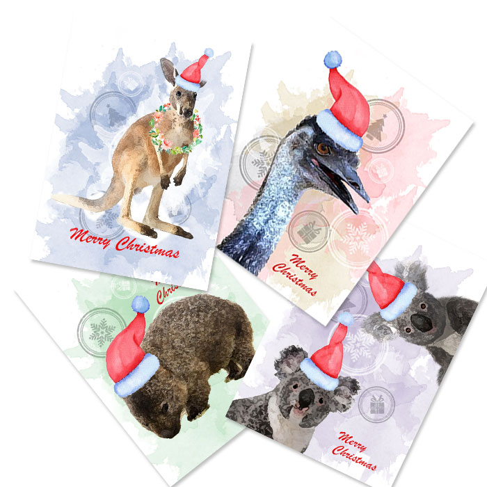 Aussie Animal Christmas Cards Set Of 4 Dana Danaee